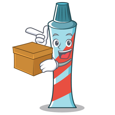 With Box Toothpaste Character Cartoon Style Royalty Free Vector Graphics