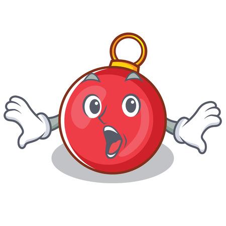 Surprised Christmas ball character cartoon vector illustration