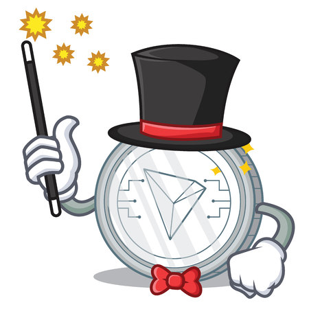 Magician Tron coin character cartoon vector illustration: Royalty