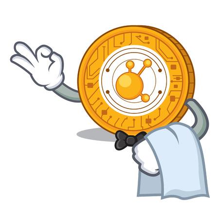 Waiter BitConnect coin character cartoon vector illustration