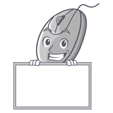Grinning with board mouse character cartoon style
