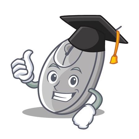 Graduation mouse character cartoon style vector illustration