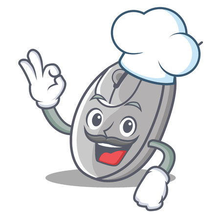 Chef mouse character cartoon style vector illustration