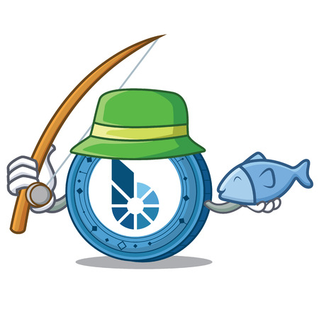 Fishing BitShares coin mascot cartoon
