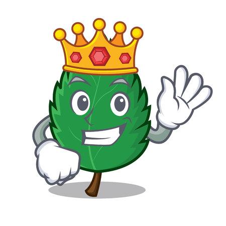 King mint leaves mascot cartoon illustration.
