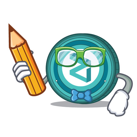 Student Zilliqa coin character cartoon
