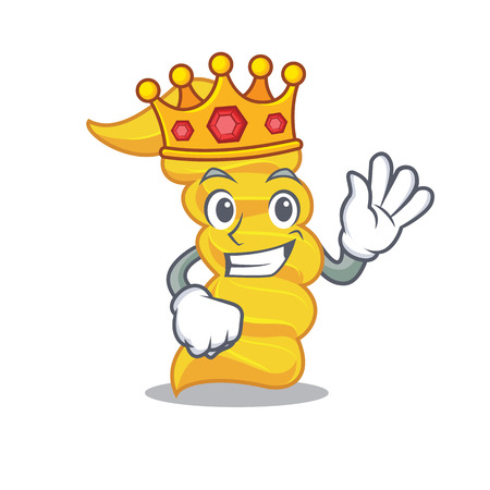 King fusilli pasta mascot cartoon