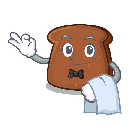 Waiter brown bread mascot cartoon