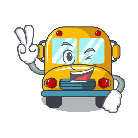 Illustration for Two finger school bus character cartoon vector illustration - Royalty Free Image