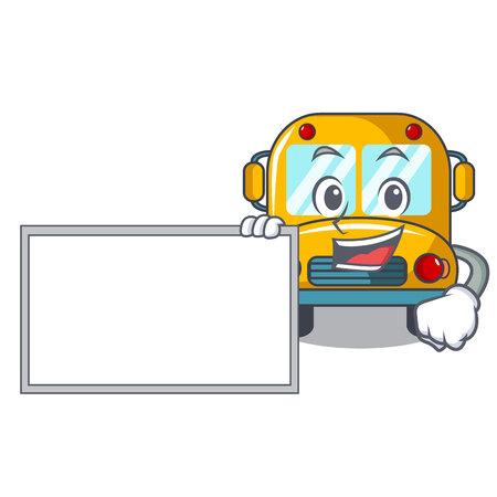 Illustration pour With board school bus character cartoon vector illustration - image libre de droit
