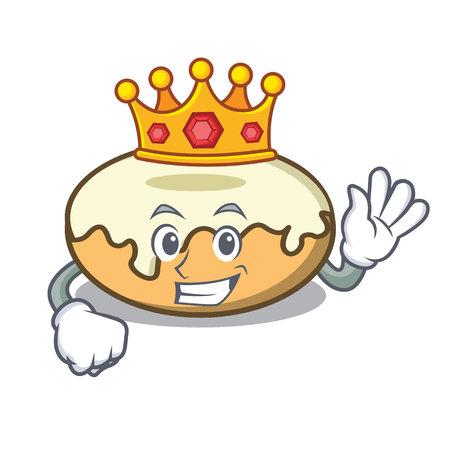 King donut with sugar mascot cartoon