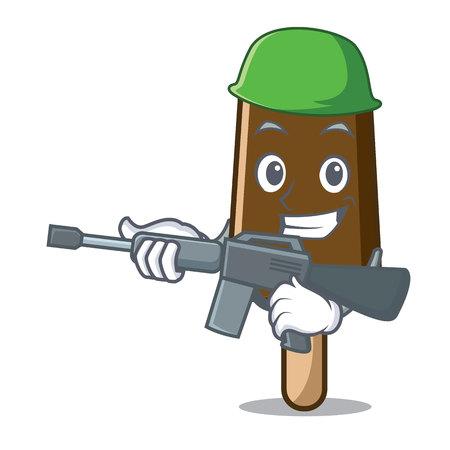 Army chocolate ice cream character cartoon