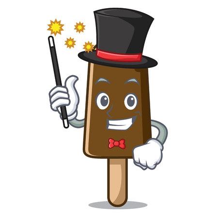 Magician chocolate ice cream mascot cartoon