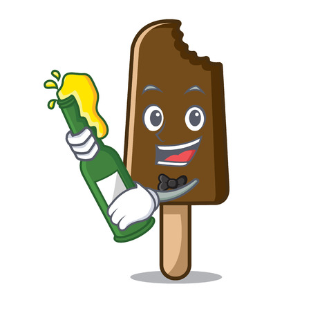 With beer chocolate ice cream mascot cartoon