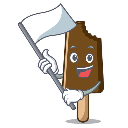 With flag chocolate ice cream mascot cartoon