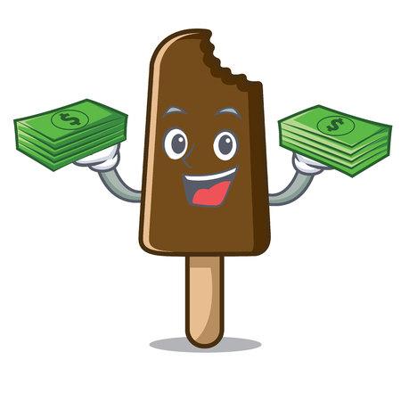 With money bag chocolate ice cream mascot cartoon