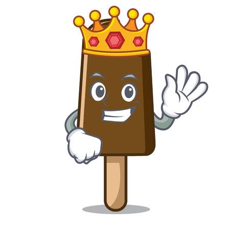 King chocolate ice cream mascot cartoon