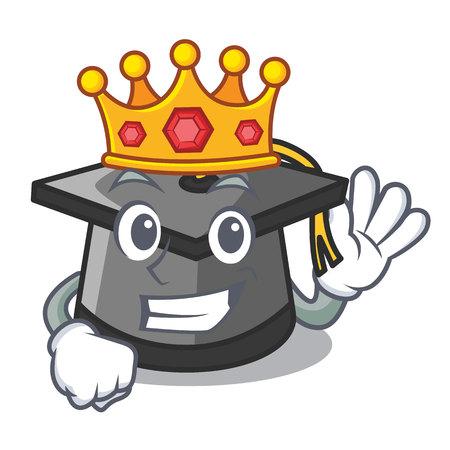 King graduation hat mascot cartoon vector illustration
