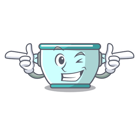 Wink steel pot character cartoon vector illustration