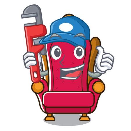 Illustration for Plumber king throne mascot cartoon vector illustration - Royalty Free Image