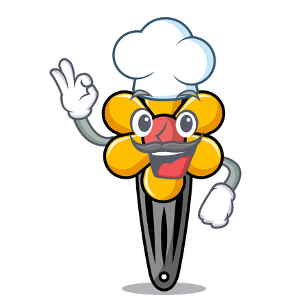 Chef hair clip character cartoon vector illustration