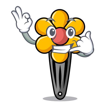 Call me hair clip mascot cartoon vector illustration