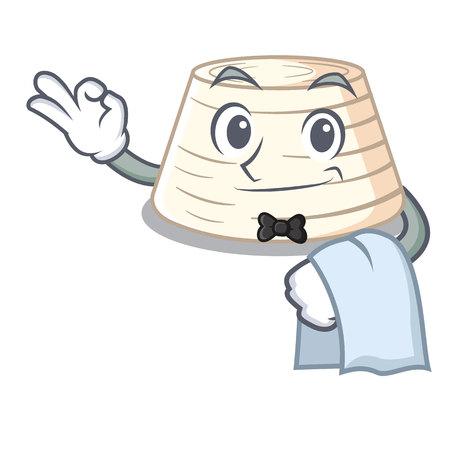 Waiter italian ricotta cheese on mascot cartoon vector illustration