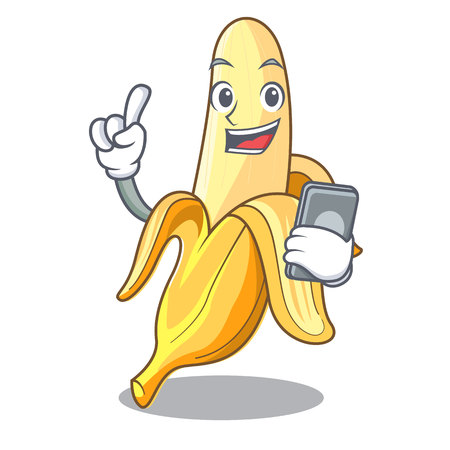 Illustration pour With phone ripe banana isolated on character cartoon vector illustration - image libre de droit