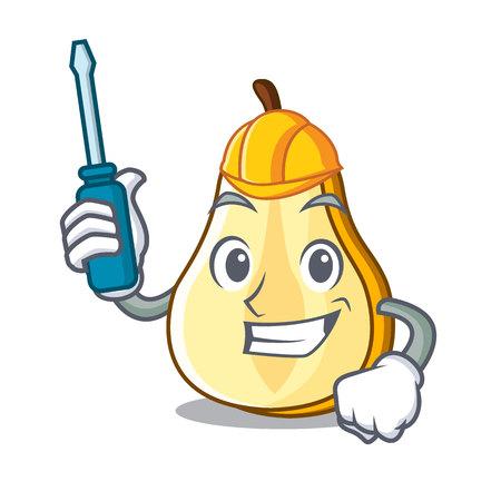 Illustration pour Automotive sliced fresh juicy pear mascot cartoon vector illustration - image libre de droit