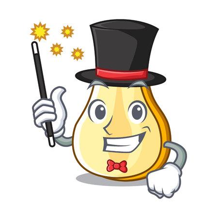 Illustration pour Magician sliced fresh juicy pear mascot cartoon vector illustration - image libre de droit