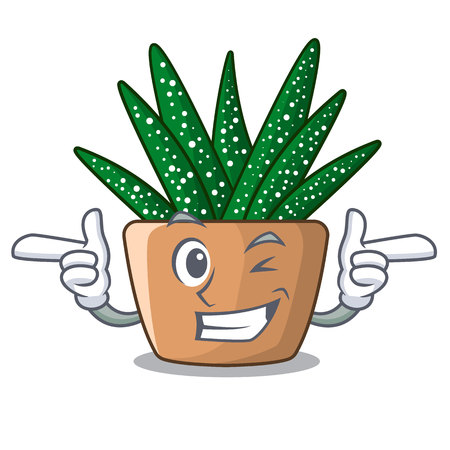 Wink character small zebra cactus plant on pot vector illustration