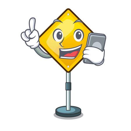 With phone harm warning sign shaped on cartoon