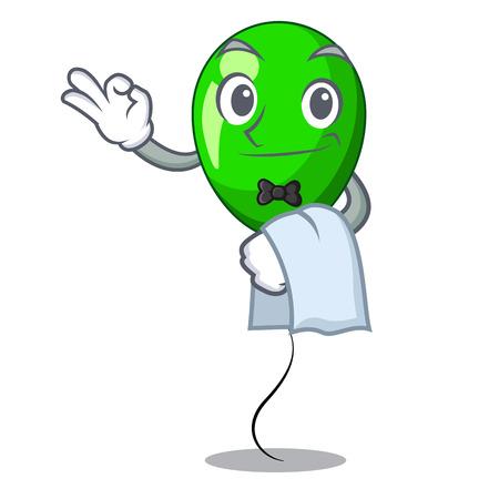 Waiter green ballon with cartoon ribbons beautiful vector illustration