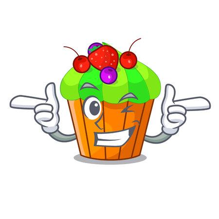 Wink ice cream sundae cupcakes on character vector illustration