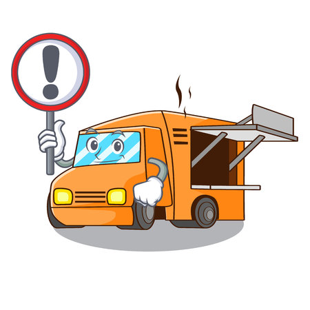 With sign rendering cartoon of food truck shape vector illustration