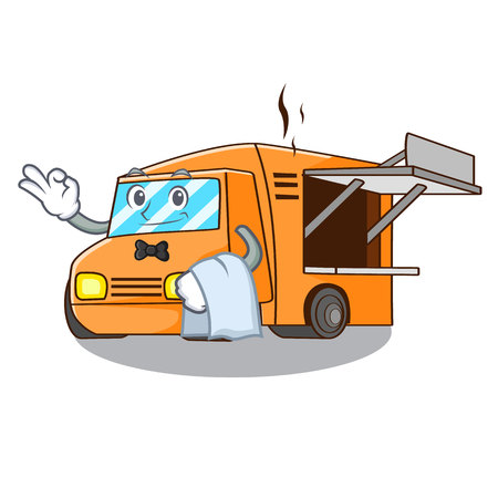 Waiter food truck festival on shape cartoon vector illustration