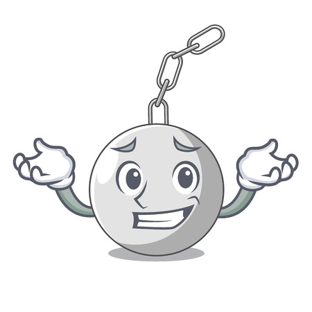 Illustration for Grinning wrecking ball hanging from chain cartoon vector illustration - Royalty Free Image