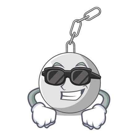 Illustration for Super cool wrecking ball hanging from chain cartoon vector illustration - Royalty Free Image