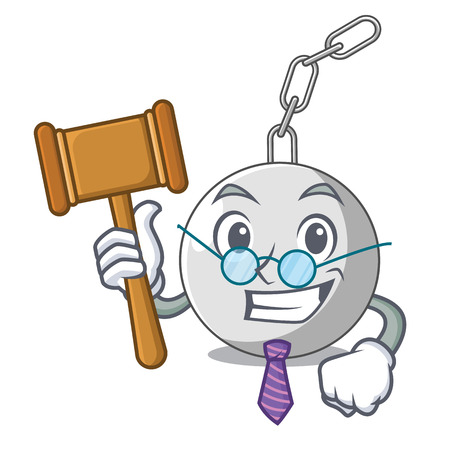 Illustration for Judge wrecking ball attached character on hitting vector illustration - Royalty Free Image