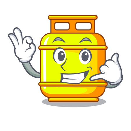 Illustration pour Call me gas tank cylinder Isolated on mascot vector illustration - image libre de droit