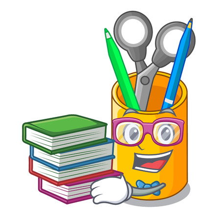 Illustration pour Student with book isometric supplies desktop on organizer mascot vector illustration - image libre de droit