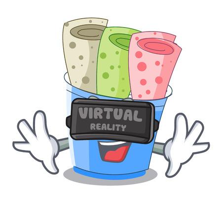 Virtual reality ice cream rolls at cups cartoon vector illustration