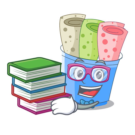 Student with book ice cream roll small depth mascot vector illustration