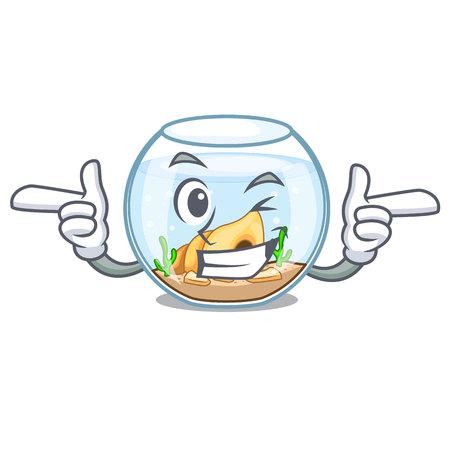 Wink fishbowl in glass sphere on mascot vector illustration