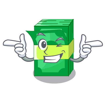 Wink stack of dollars isolated on mascot vector illustration