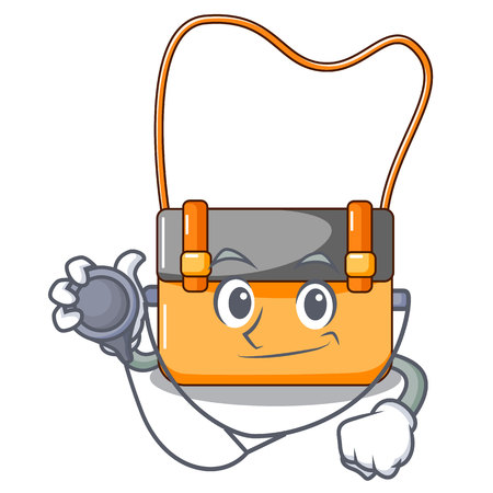 Doctor messenger bag on a isolated mascot vector illustration