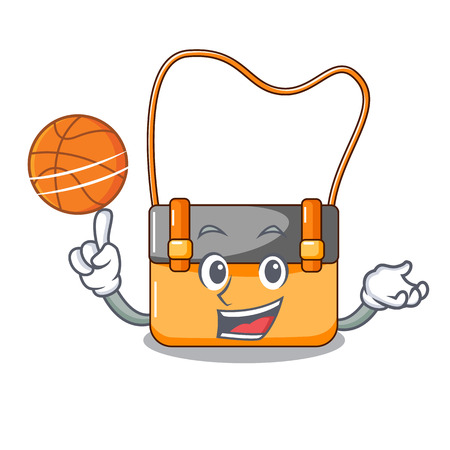 With basketball messenger bag on a isolated mascot vector illustration
