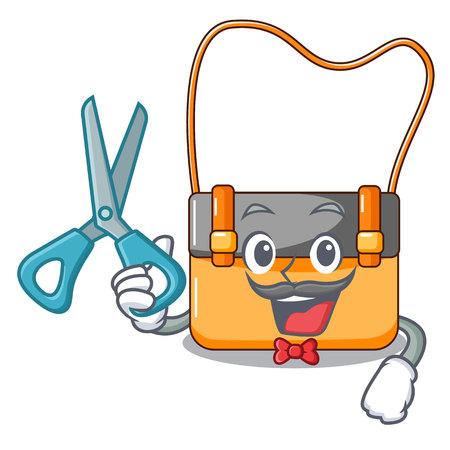 Barber messenger bag on a isolated mascot vector illustration