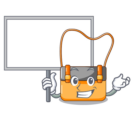 Bring board messenger bag on a isolated mascot vector illustration