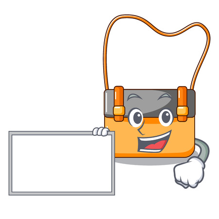 With board messenger bag on a isolated mascot vector illustration